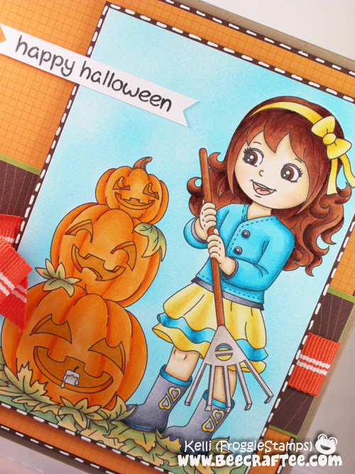 Copic Happy Halloween Girl Raking and Pumpkins 2