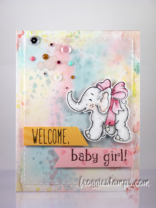 Distress Marker Welcome Baby Girl Elephant 1