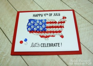 "I stamped the sentiments from the ""Happy 4th"" stamp set by Lawn Fawn and added few sequins on the outside to represent Hawaii and Alaska."