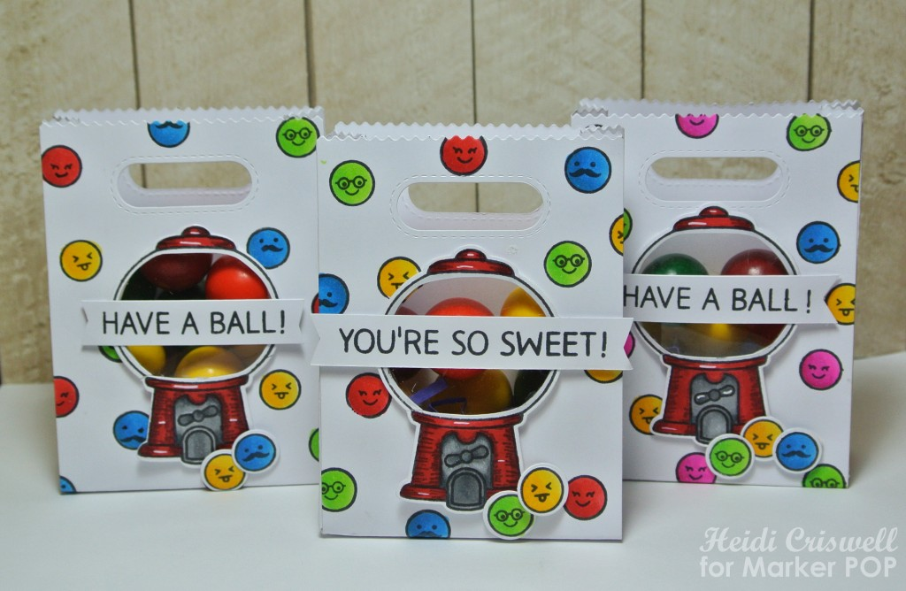 "The sentiments are also from the ""Sweet Smiles"" set. I filled the bags with gumballs and they are ready for the kiddos!"